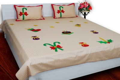 Aurraa Cotton Silk Blend Embroidered Double Bedsheet