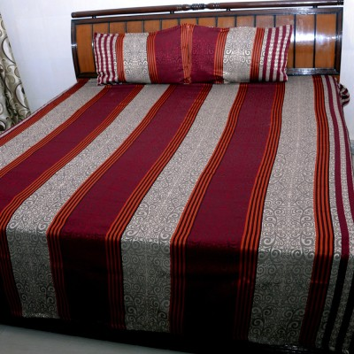 Balaji Texo Fab Silk Striped Double Bedsheet