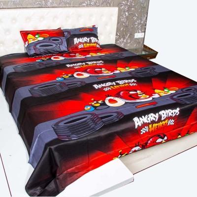 rk raagrang Satin, Cotton Cartoon King sized Double Bedsheet