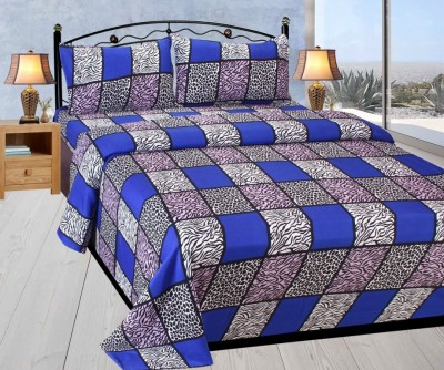 MAD DECOR HOUSE Polyester Checkered Double Bedsheet
