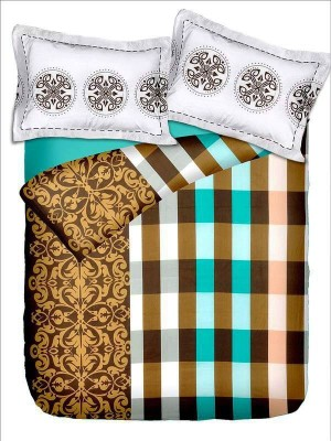 Rose Petal Cotton Checkered Double Bedsheet