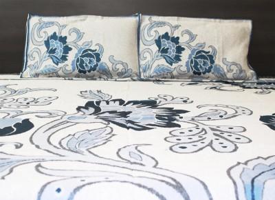 IRS Cotton Linen Blend Floral Double Bedsheet