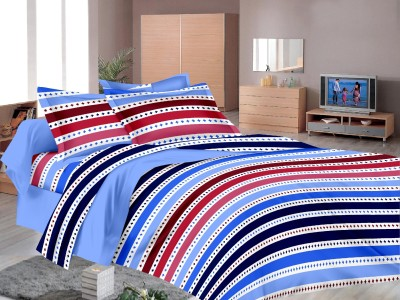 MB Cotton Striped Double Bedsheet