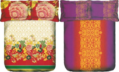 Portico New York Cotton Silk Blend Floral King sized Double Bedsheet
