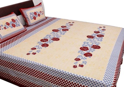 RV COLLECTION Cotton Floral Double Bedsheet