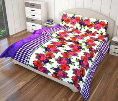 Just Linen Polyester Striped King sized Double Bedsheet