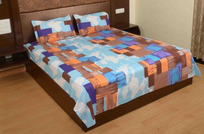 Jaipur Fabric Cotton Checkered Double Bedsheet