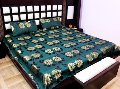 Milan Polycotton, Jacquard, Silk Floral King sized Double Bedsheet