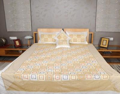 Rajrang Polyester, Silk Geometric Double Bedsheet