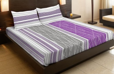 MYCK Cotton Striped Queen sized Double Bedsheet