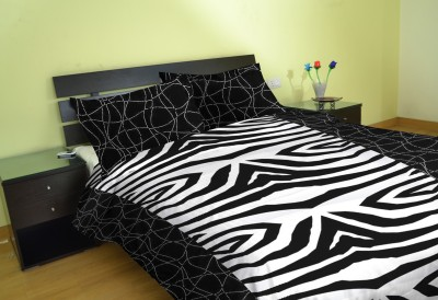 Aalidhra Polyester Silk Blend Abstract King sized Double Bedsheet