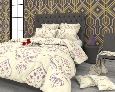 The White Moss Cotton Abstract King sized Double Bedsheet