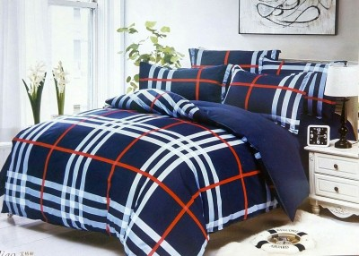 Night Gold Polycotton Checkered Double Bedsheet
