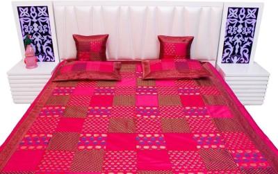 shreemangalammart Silk Double Bed Cover Pink, 1 Double Bedcover, 2 Cushion Covers, 2 Pillow Covers  available at Flipkart for Rs.5400