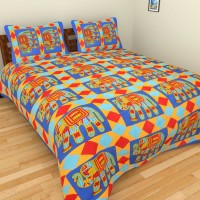 The Handicraft House Cotton Floral Double Bedsheet(1 Bedsheet with 2 Pillow Covers, Multicolor)