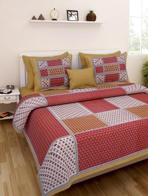 Bohomandala Cotton Checkered Queen sized Double Bedsheet