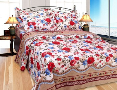 VEENA FABS Cotton Floral Double Bedsheet