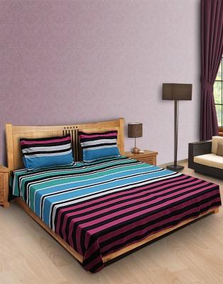 Home Stylerz Satin, Cotton Striped Double Bedsheet