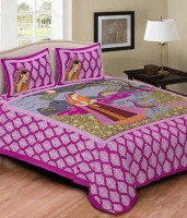 U&I Cotton Printed King sized Double Bedsheet(1 King Bedsheet, 2 Pillow Covers, Blue)