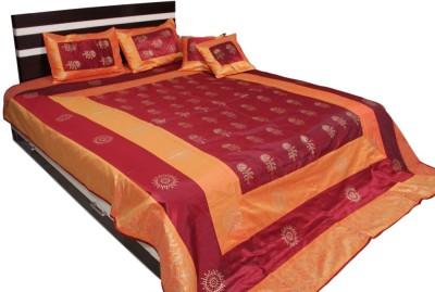 Soundarya Polyester Silk Blend Abstract Double Bedsheet