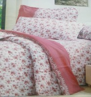 AJ Home Polycotton Floral Double Bedsheet(1 Bedsheet, 2 Pillow Covers, White)