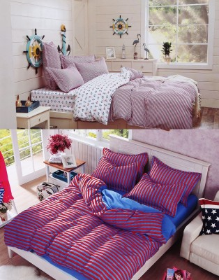 Home Basics Polycotton Striped Queen sized Double Bedsheet