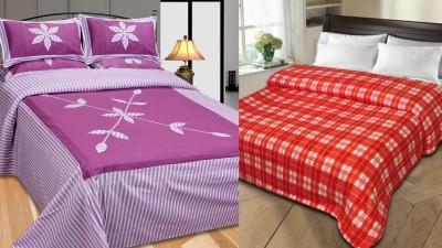 Shopgalore Polyester, Cotton Floral Double Bedsheet