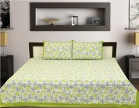 Aangan Cotton Text Print Double Bedsheet(one bed sheet 2 pillow cover, White)