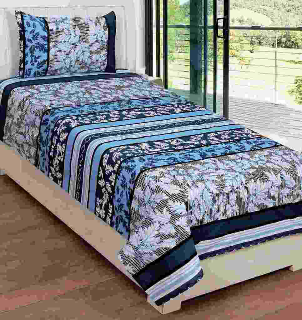 JMT Cotton Printed Single Bedsheet(1 Cotton Single Bedsheet with 1 pillow cover, Multicolor)