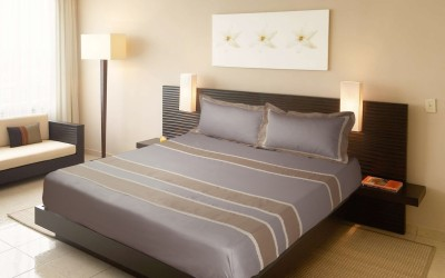Fisher West New York Polycotton Striped King sized Double Bedsheet