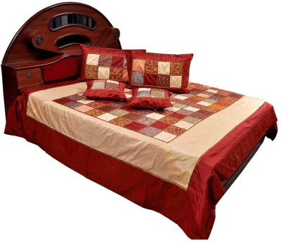 Shilpbazaar Silk Double Bed Cover(Maroon, 1 Double Bedcover, 2 Cushion Covers, 2 Pillow Covers)