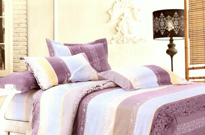 VIOLET Cotton Abstract Queen sized Double Bedsheet