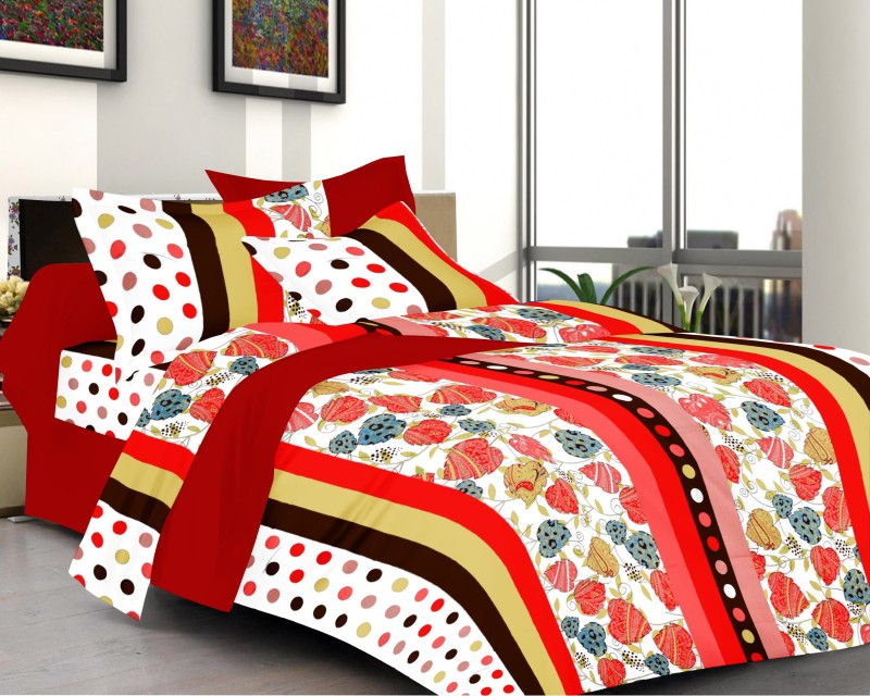 Prestige Cotton Polka Queen sized Double Bedsheet Lily Prestige Printed Cotton Double Bed Sheet (1+2) Set
