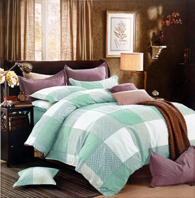 RKPRODUCT Cotton Checkered Double Bedsheet