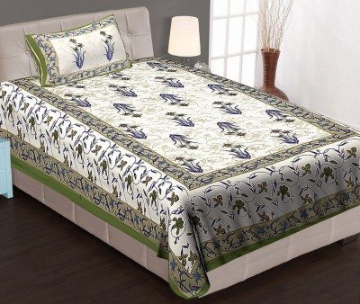 Jaipuri Haat Cotton Floral Single Bedsheet