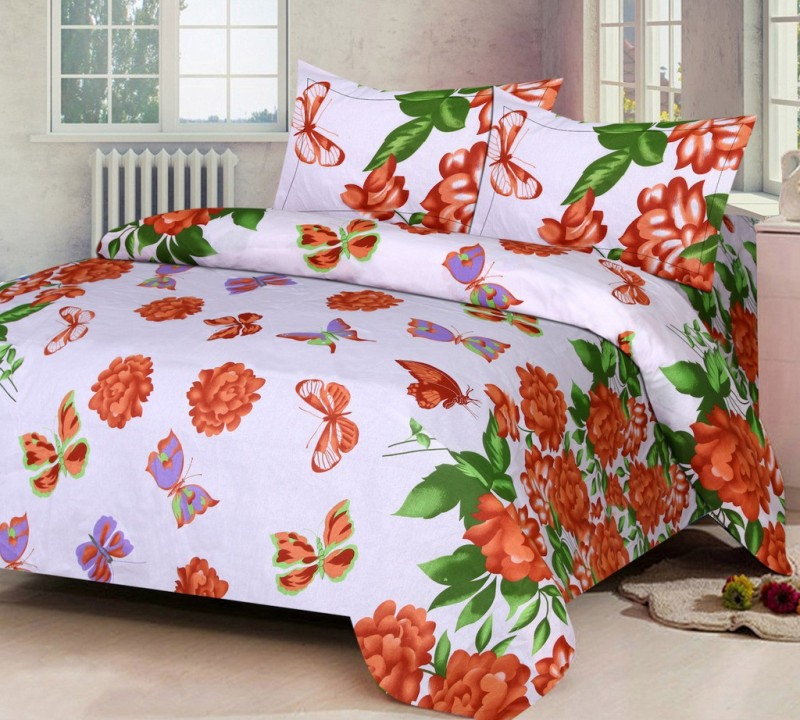 IWS Cotton Printed Double Bedsheet(1 Bedsheet, 2 Pillow Covers, Multicolor)