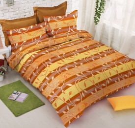 Stop N Shop Cotton Floral Double Bedsheet(1 Bedsheet with 2 Pillow Cover, Brown)