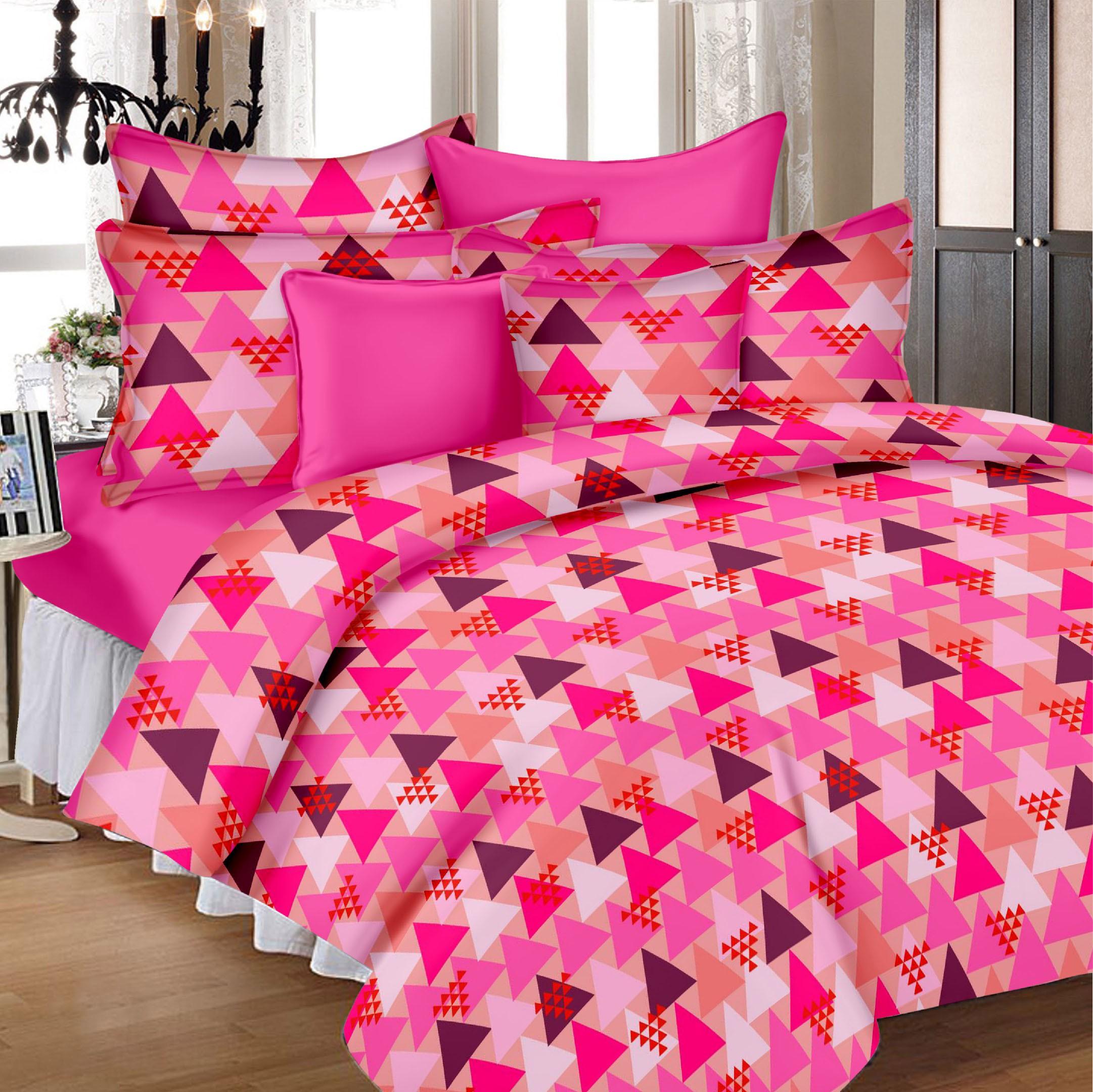 Flipkart SmartBuy Cotton Geometric Double Bedsheet(1 BEDSHEETS AND 2 PILLOW COVER, Multicolor)