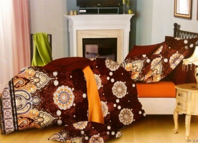 Night Gold Cotton Paisley King sized Double Bedsheet