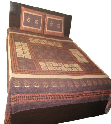Charu Exports Cotton Abstract King sized Double Bedsheet