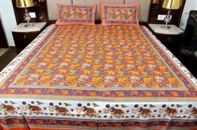 Om Prints Cotton Floral Double Bedsheet