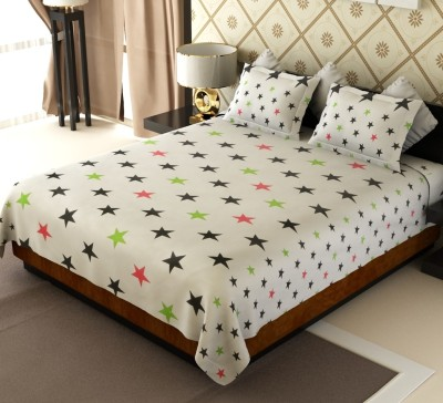 Home Candy Cotton Printed Double Bedsheet(1 Double Bedsheet, 2 Pillow Covers, White, Black)