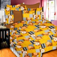 Prisha Cotton Floral Double Bedsheet(1 Bed Sheet & 2 Pillow Covers, Yellow)