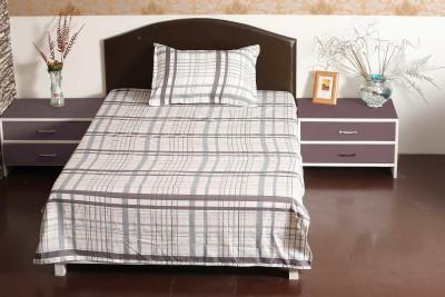 Aalidhra Polyester Silk Blend Checkered Single Bedsheet
