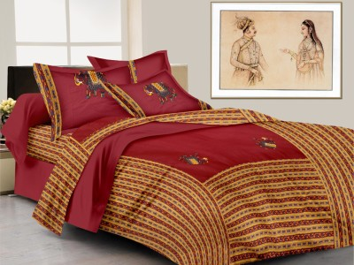 Lali Prints Cotton Embroidered King sized Double Bedsheet