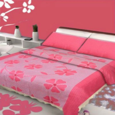 om trdaing Cotton Floral King sized Double Bedsheet