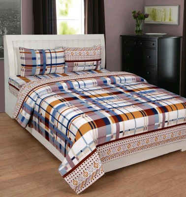 The Chaddar Polycotton Checkered Double Bedsheet