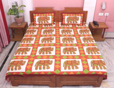 PAWAN TEXTILES Cotton Printed Double Bedsheet