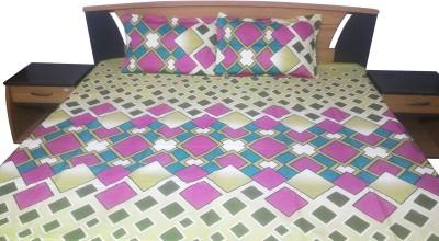 Aashri Cotton Silk Blend Geometric King sized Double Bedsheet