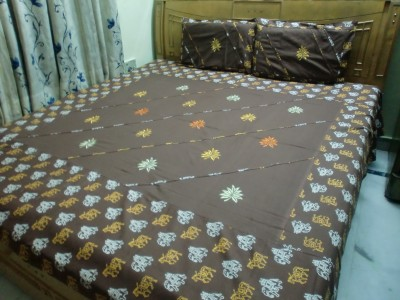 Shree Creations Cotton Embroidered Double Bedsheet